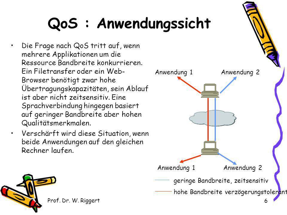Prof. Dr. W. Riggert 6 QoS : Anwendungssicht Die Frage nach QoS tritt auf, wenn mehrere Applikationen um die Ressource Bandbreite konkurrieren. Ein Fi