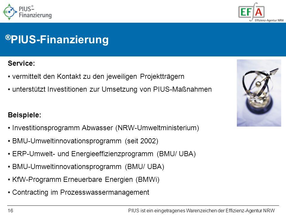 16 ® PIUS-Finanzierung Service: vermittelt den Kontakt zu den jeweiligen Projektträgern unterstützt Investitionen zur Umsetzung von PIUS-Maßnahmen Bei