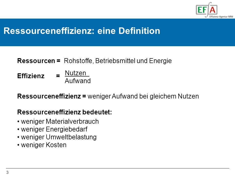 3 Ressourceneffizienz: eine Definition Nutzen Aufwand Ressourceneffizienz bedeutet: weniger Materialverbrauch weniger Energiebedarf weniger Umweltbela