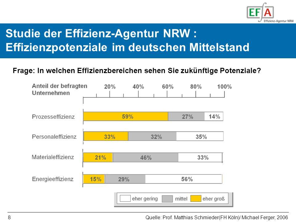8 Studie der Effizienz-Agentur NRW : Effizienzpotenziale im deutschen Mittelstand Frage: In welchen Effizienzbereichen sehen Sie zukünftige Potenziale