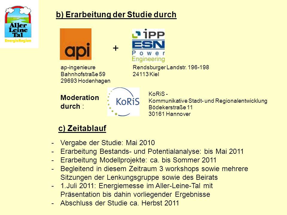 b) Erarbeitung der Studie durch c) Zeitablauf Rendsburger Landstr. 196-198 24113 Kiel ap-ingenieure Bahnhofstraße 59 29693 Hodenhagen + -Vergabe der S