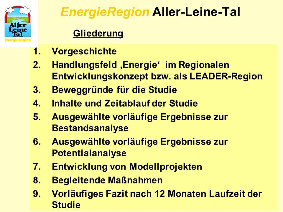 4 EnergieRegion Aller-Leine-Tal 1.Vorgeschichte 2.Handlungsfeld Energie im Regionalen Entwicklungskonzept bzw. als LEADER-Region 3.Beweggründe für die