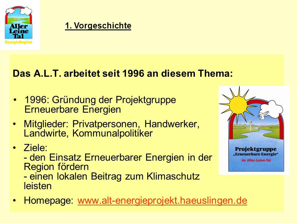 5 Das A.L.T. arbeitet seit 1996 an diesem Thema: 1996: Gründung der Projektgruppe Erneuerbare Energien Mitglieder: Privatpersonen, Handwerker, Landwir
