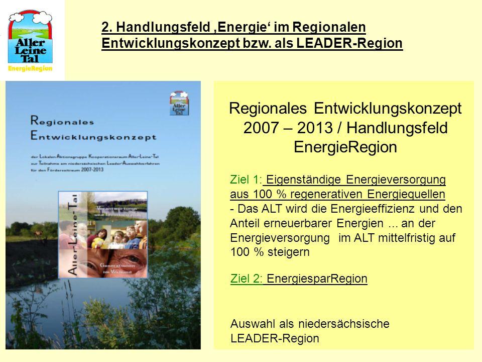 6 Regionales Entwicklungskonzept 2007 – 2013 / Handlungsfeld EnergieRegion Ziel 1: Eigenständige Energieversorgung aus 100 % regenerativen Energiequel