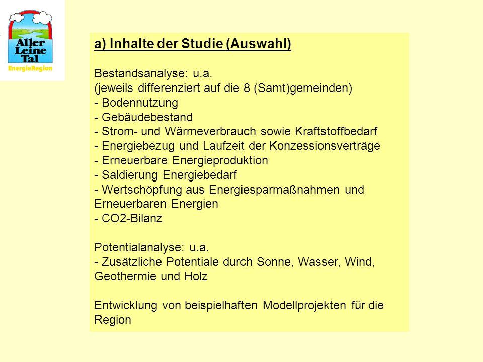 a) Inhalte der Studie (Auswahl) Bestandsanalyse: u.a. (jeweils differenziert auf die 8 (Samt)gemeinden) - Bodennutzung - Gebäudebestand - Strom- und W