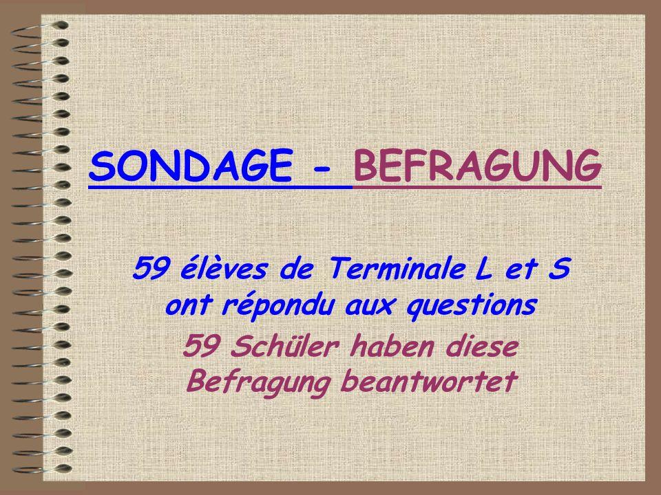SONDAGE - BEFRAGUNG 59 élèves de Terminale L et S ont répondu aux questions 59 Schüler haben diese Befragung beantwortet