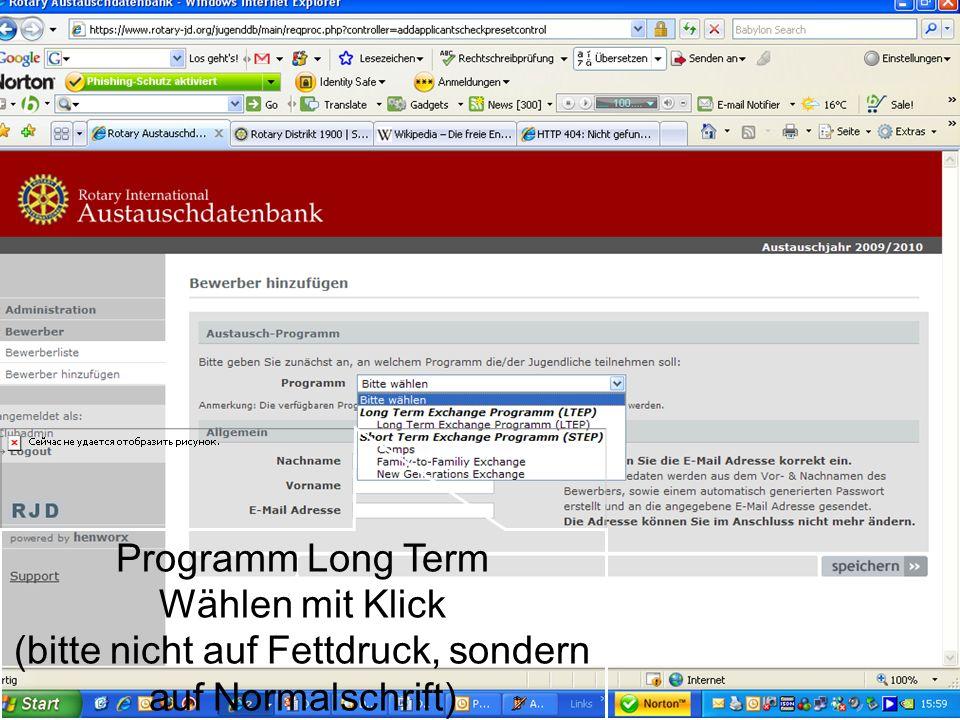 Referent: Martin EggertJugenddienst D1900: Vortragsthema Programm Long Term Wählen mit Klick (bitte nicht auf Fettdruck, sondern auf Normalschrift)