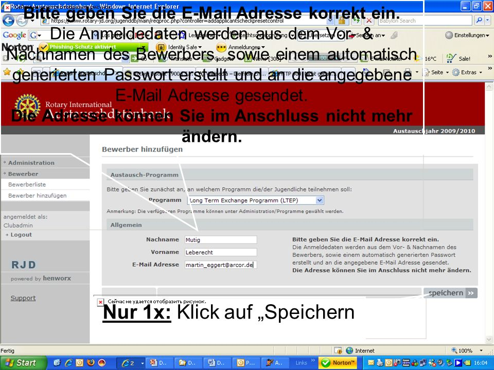 Referent: Martin EggertJugenddienst D1900: Vortragsthema Bitte geben Sie die E-Mail Adresse korrekt ein. Die Anmeldedaten werden aus dem Vor- & Nachna