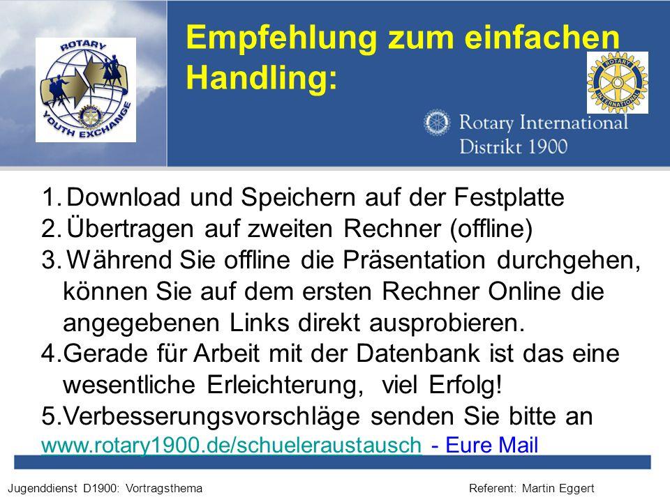 Referent: Martin EggertJugenddienst D1900: Vortragsthema Empfehlung zum einfachen Handling: 1.Download und Speichern auf der Festplatte 2.Übertragen a