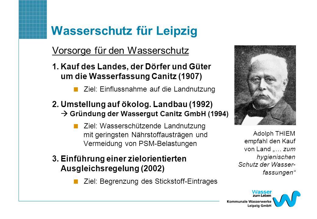 Wasserschutz für Leipzig Vorsorge für den Wasserschutz 1.Kauf des Landes, der Dörfer und Güter um die Wasserfassung Canitz (1907) Ziel: Einflussnahme