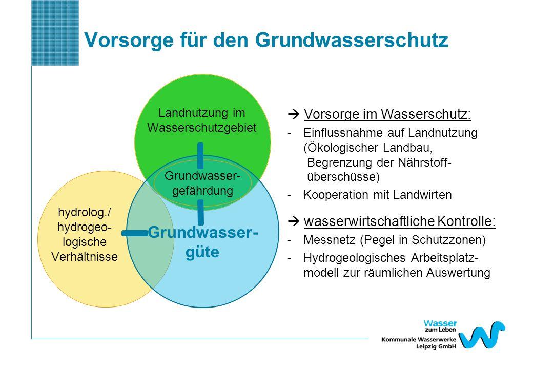 Vorsorge für den Grundwasserschutz Landnutzung im Wasserschutzgebiet Grundwasser- güte hydrolog./ hydrogeo- logische Verhältnisse Grundwasser- gefährd