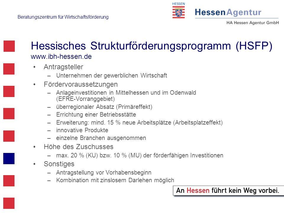 Beratungszentrum für Wirtschaftsförderung Hessisches Strukturförderungsprogramm (HSFP) www.ibh-hessen.de Antragsteller –Unternehmen der gewerblichen W