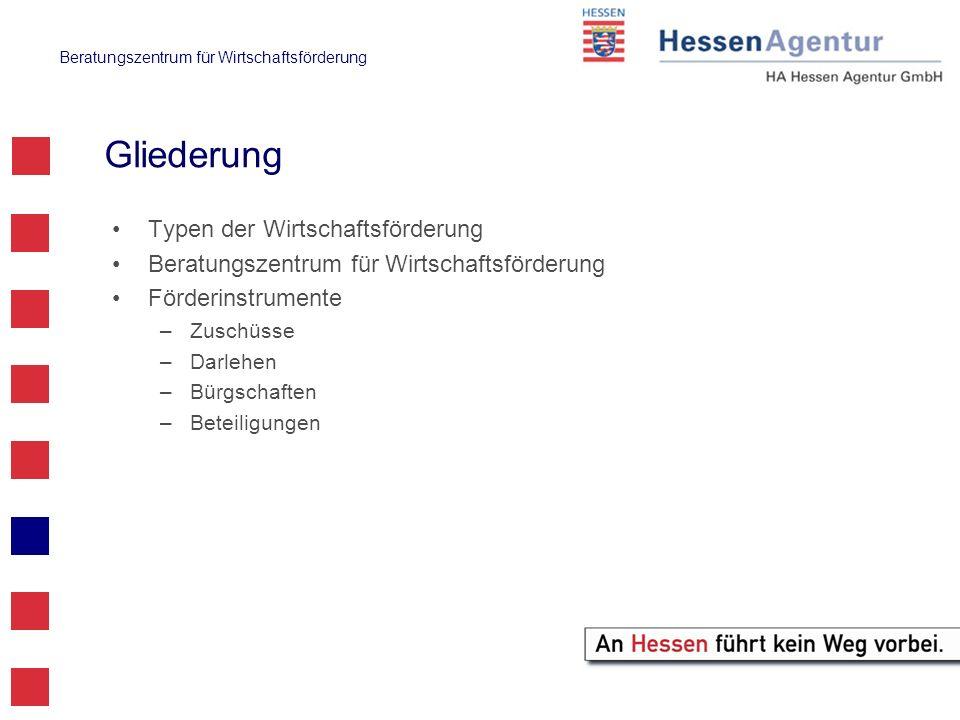 Beratungszentrum für Wirtschaftsförderung Hessen Kapital (BM H) www.hessen-kapital.de (www.bmh-hessen.de) www.hessen-kapital.de Fokus: bereits gegründete mittelständische Unternehmen mit Sitz oder wesentlichen wirtschaftlichen Aktivitäten in Hessen –unter 250 Beschäftigten, 50 Mio.