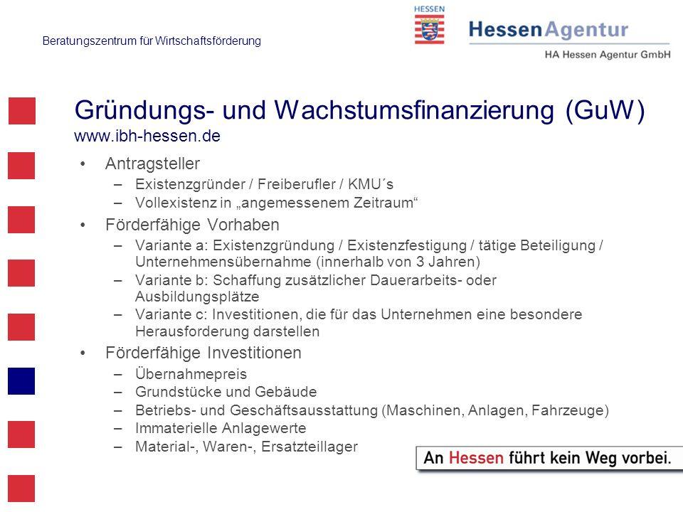 Beratungszentrum für Wirtschaftsförderung Gründungs- und Wachstumsfinanzierung (GuW) www.ibh-hessen.de Antragsteller –Existenzgründer / Freiberufler /