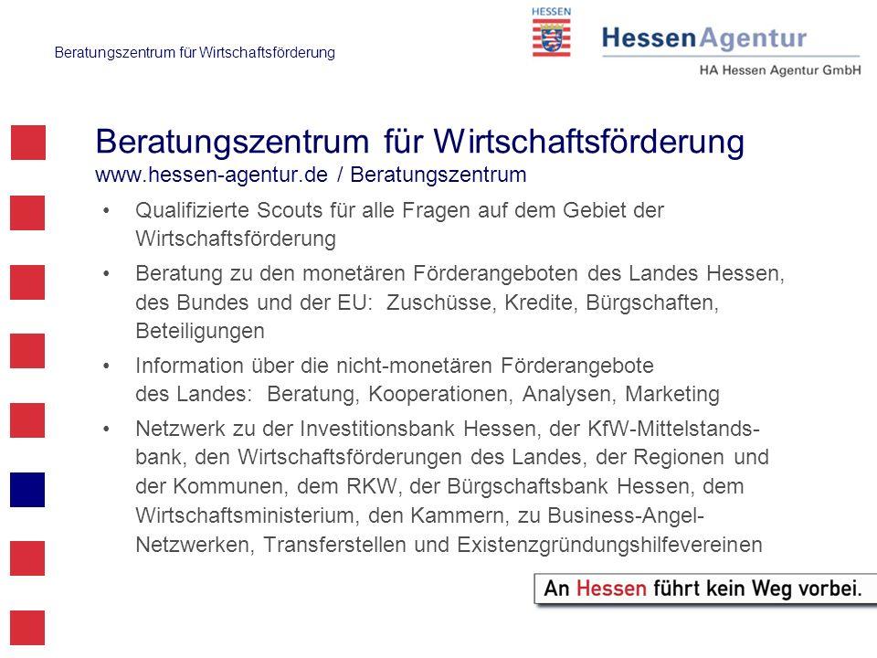 Beratungszentrum für Wirtschaftsförderung Beratungszentrum für Wirtschaftsförderung www.hessen-agentur.de / Beratungszentrum Qualifizierte Scouts für