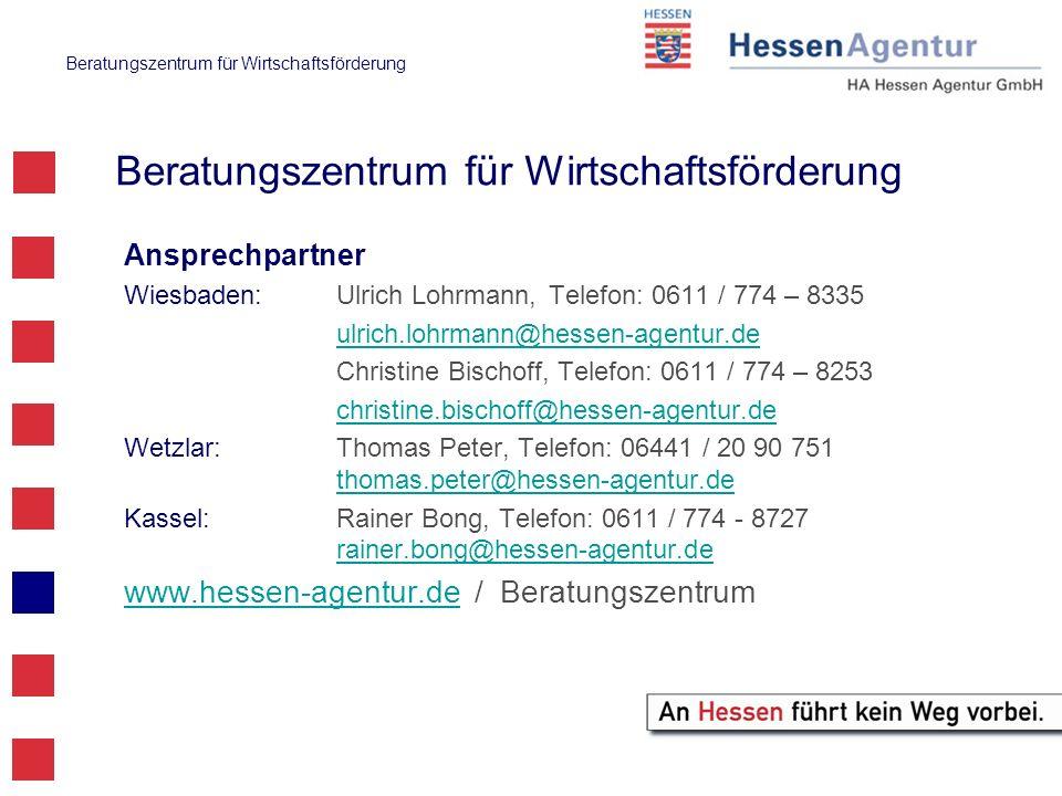 Beratungszentrum für Wirtschaftsförderung Ansprechpartner Wiesbaden:Ulrich Lohrmann,Telefon: 0611 / 774 – 8335 ulrich.lohrmann@hessen-agentur.de Chris