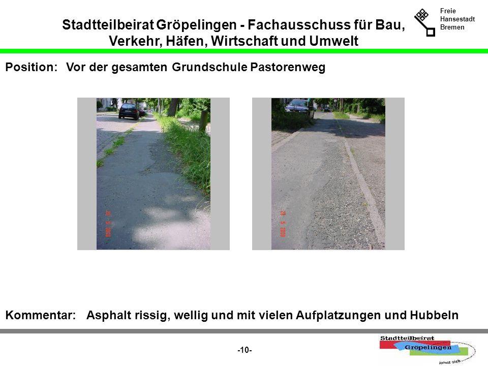 Stadtteilbeirat Gröpelingen - Fachausschuss für Bau, Verkehr, Häfen, Wirtschaft und Umwelt Freie Hansestadt Bremen -10- Position:Vor der gesamten Grun