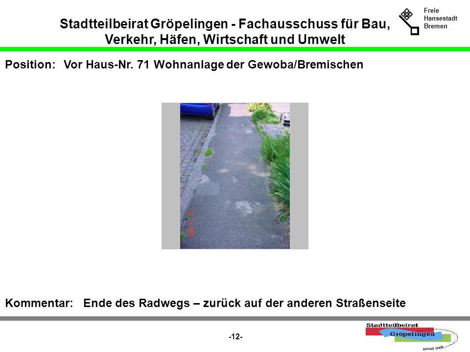 Stadtteilbeirat Gröpelingen - Fachausschuss für Bau, Verkehr, Häfen, Wirtschaft und Umwelt Freie Hansestadt Bremen -12- Position:Vor Haus-Nr. 71 Wohna