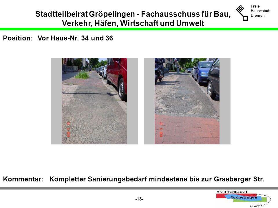 Stadtteilbeirat Gröpelingen - Fachausschuss für Bau, Verkehr, Häfen, Wirtschaft und Umwelt Freie Hansestadt Bremen -13- Position:Vor Haus-Nr. 34 und 3