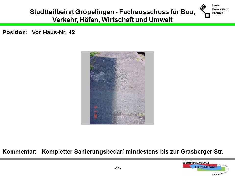 Stadtteilbeirat Gröpelingen - Fachausschuss für Bau, Verkehr, Häfen, Wirtschaft und Umwelt Freie Hansestadt Bremen -14- Position:Vor Haus-Nr. 42 Komme