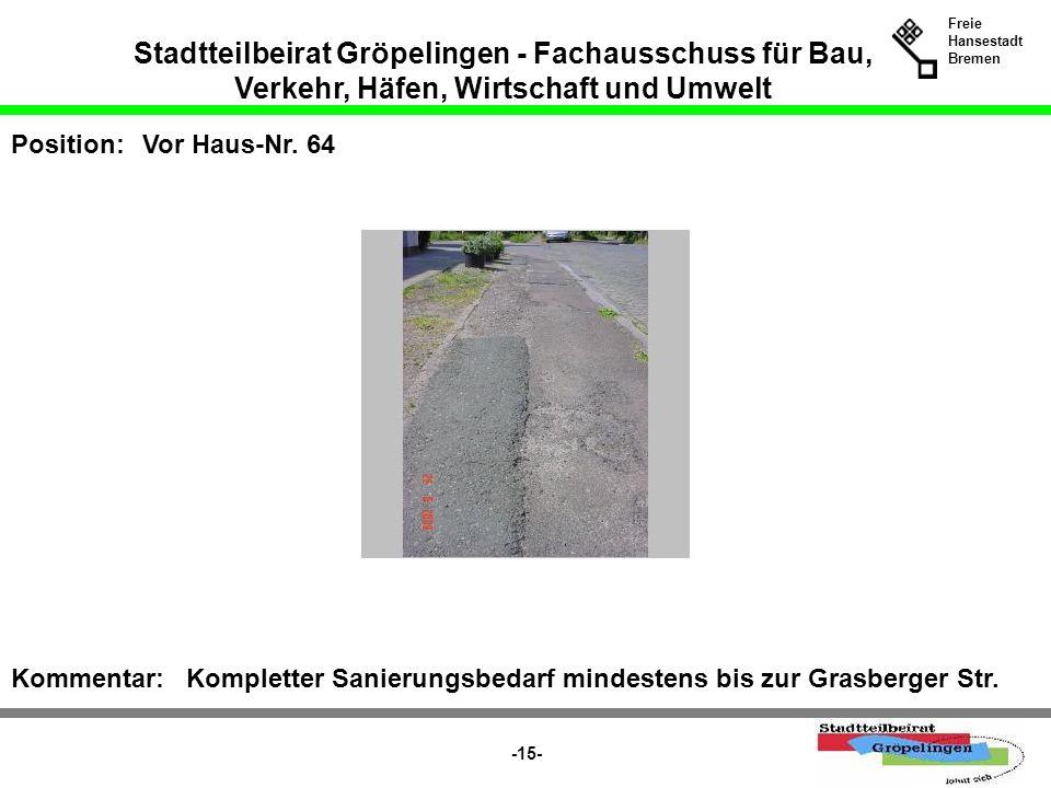 Stadtteilbeirat Gröpelingen - Fachausschuss für Bau, Verkehr, Häfen, Wirtschaft und Umwelt Freie Hansestadt Bremen -15- Position:Vor Haus-Nr. 64 Komme