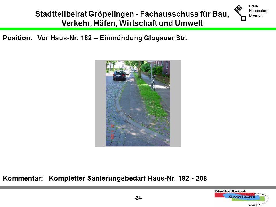 Stadtteilbeirat Gröpelingen - Fachausschuss für Bau, Verkehr, Häfen, Wirtschaft und Umwelt Freie Hansestadt Bremen -24- Position:Vor Haus-Nr. 182 – Ei