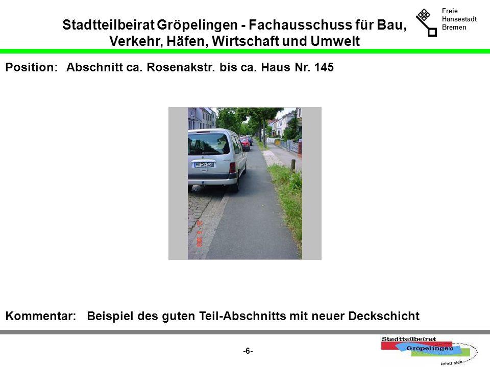 Stadtteilbeirat Gröpelingen - Fachausschuss für Bau, Verkehr, Häfen, Wirtschaft und Umwelt Freie Hansestadt Bremen -27- Position:Vor Haus-Nr.