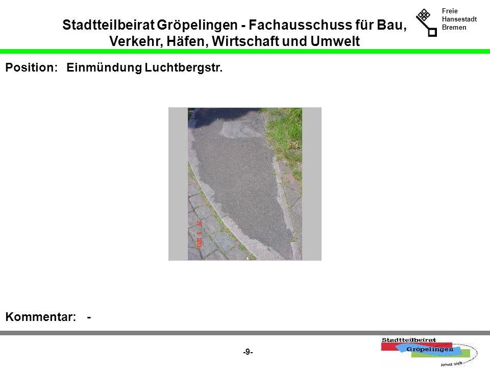 Stadtteilbeirat Gröpelingen - Fachausschuss für Bau, Verkehr, Häfen, Wirtschaft und Umwelt Freie Hansestadt Bremen -9- Position:Einmündung Luchtbergst