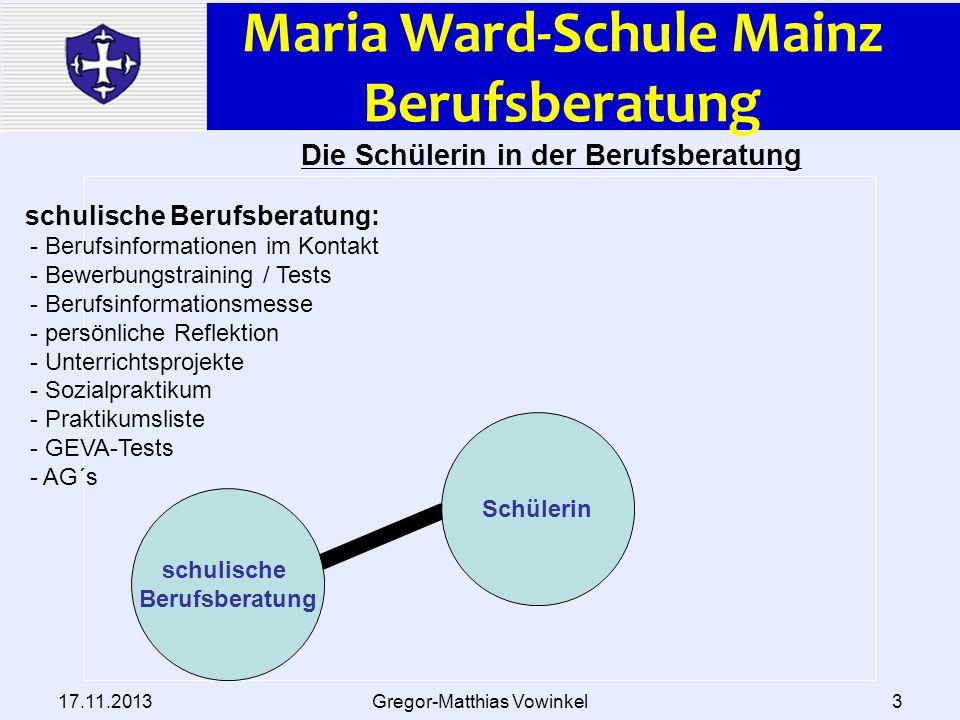 Maria Ward-Schule Mainz Berufsberatung 17.11.2013Gregor-Matthias Vowinkel3 Die Schülerin in der Berufsberatung Schülerin schulische Berufsberatung sch