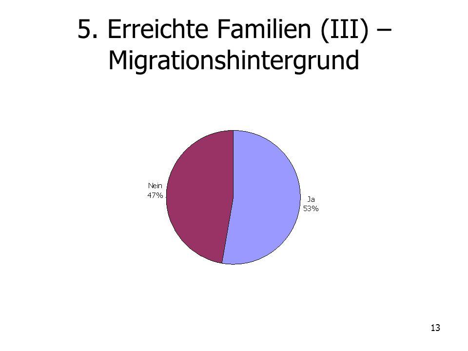 13 5. Erreichte Familien (III) – Migrationshintergrund