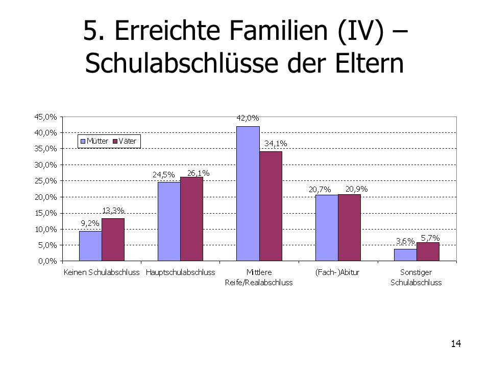 14 5. Erreichte Familien (IV) – Schulabschlüsse der Eltern