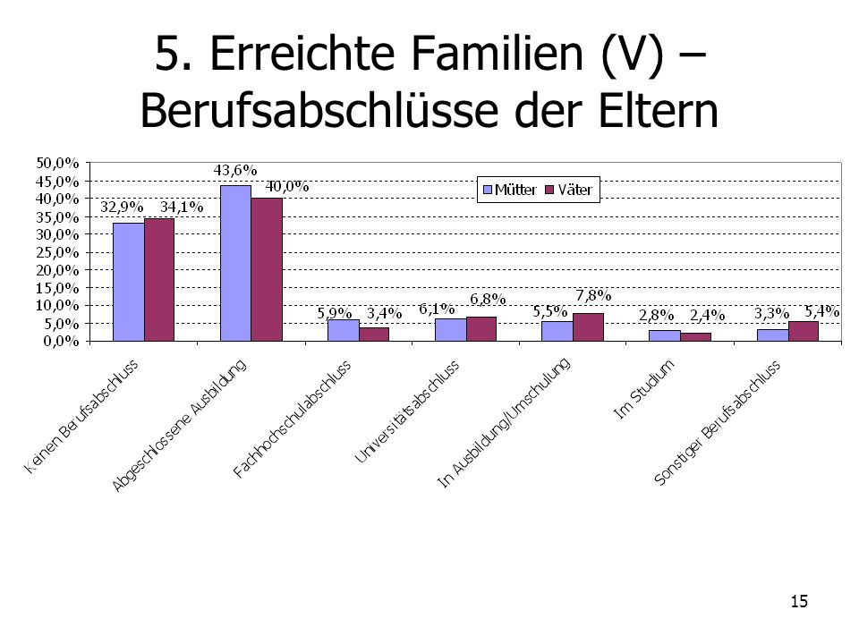 15 5. Erreichte Familien (V) – Berufsabschlüsse der Eltern