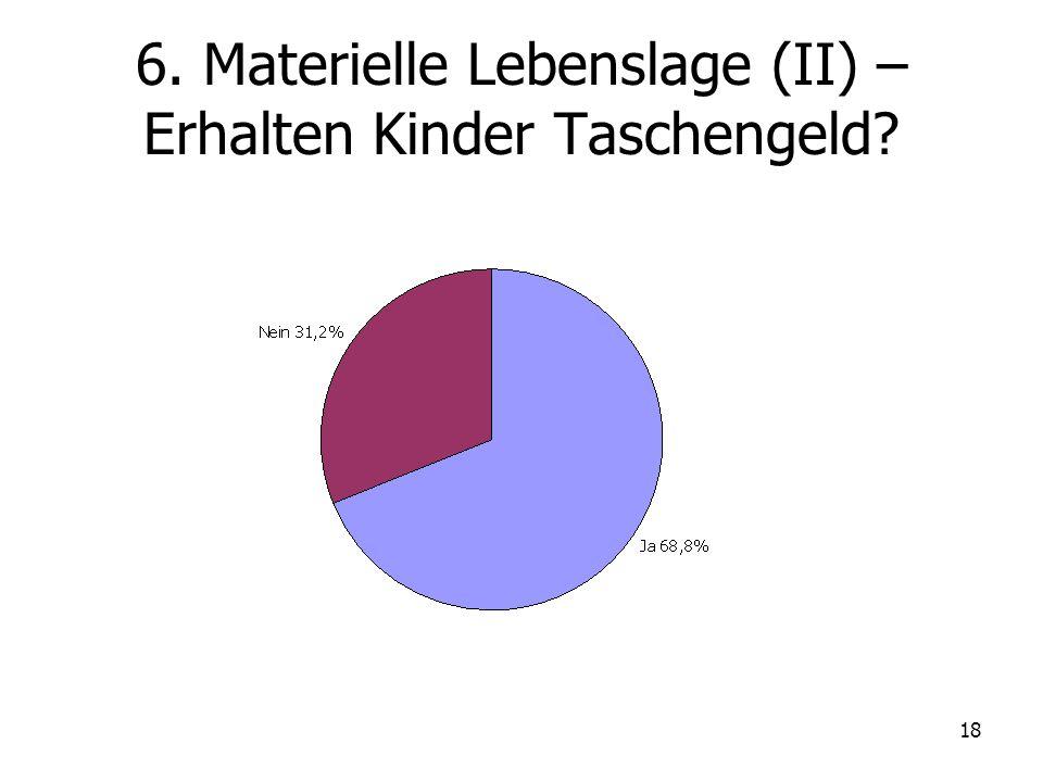 18 6. Materielle Lebenslage (II) – Erhalten Kinder Taschengeld?