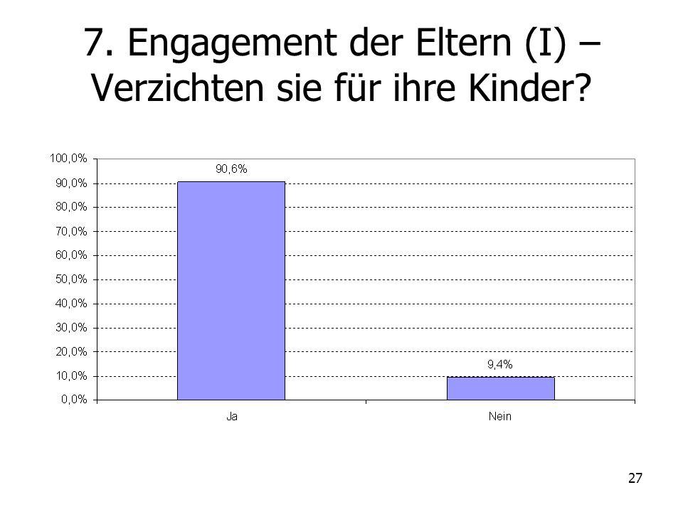 27 7. Engagement der Eltern (I) – Verzichten sie für ihre Kinder?