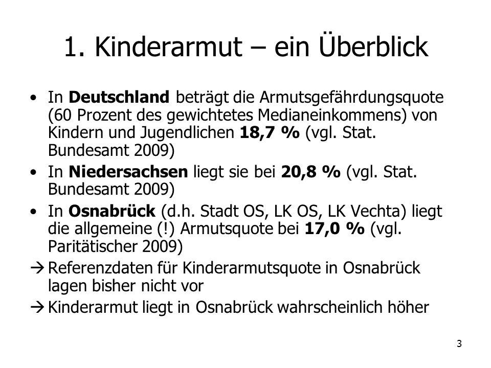 3 1. Kinderarmut – ein Überblick In Deutschland beträgt die Armutsgefährdungsquote (60 Prozent des gewichtetes Medianeinkommens) von Kindern und Jugen