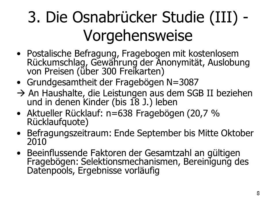 8 3. Die Osnabrücker Studie (III) - Vorgehensweise Postalische Befragung, Fragebogen mit kostenlosem Rückumschlag, Gewährung der Anonymität, Auslobung