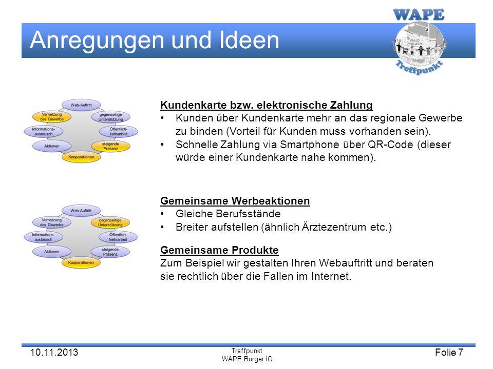 Treffpunkt WAPE Bürger IG Anregungen und Ideen Treffpunkt WAPE Bürger IG Folie 7 Vernetzung des Gewerbe Vernetzung des Gewerbe gegenseitige Unterstütz