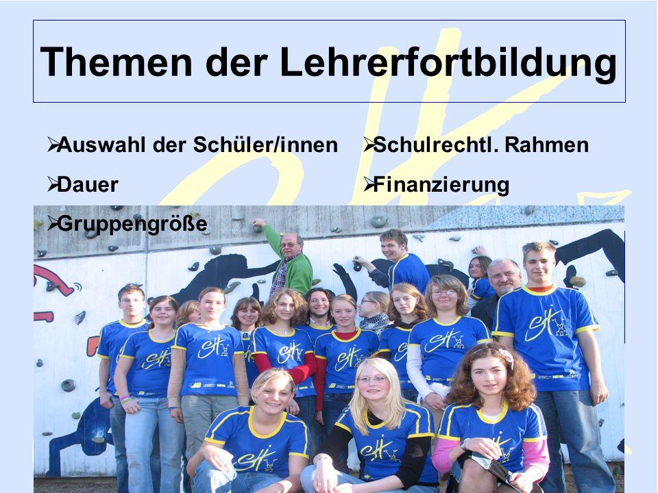 Sportjugend NRW Lehmann FV Februar 2006 Sporthelfer 6 Themen der Lehrerfortbildung Schulrechtl. Rahmen Finanzierung Auswahl der Schüler/innen Dauer Gr