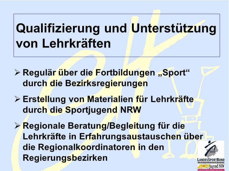 Sportjugend NRW Lehmann FV Februar 2006 Sporthelfer 7 Qualifizierung und Unterstützung von Lehrkräften Regulär über die Fortbildungen Sport durch die