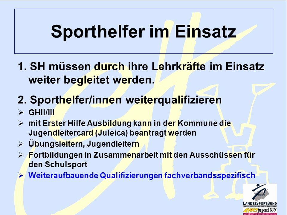 Sportjugend NRW Lehmann FV Februar 2006 Sporthelfer 8 Sporthelfer im Einsatz 1. SH müssen durch ihre Lehrkräfte im Einsatz weiter begleitet werden. 2.