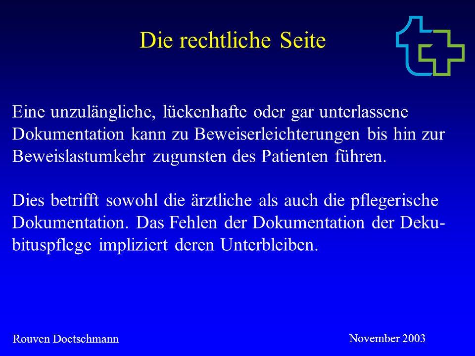 Rouven Doetschmann November 2003 Die Abrechnungsseite Der MDK führt Fehlbelegungsprüfungen durch und prüft die Zweckmäßigkeit und Wirtschaftlichkeit der erbrachten Leist- ungen, welche das Maß des Notwendigen nicht überschreiten dürfen.