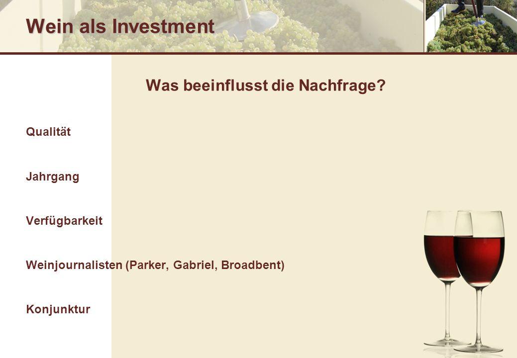 Wein als Investment Was beeinflusst die Nachfrage? Qualität Jahrgang Verfügbarkeit Weinjournalisten (Parker, Gabriel, Broadbent) Konjunktur