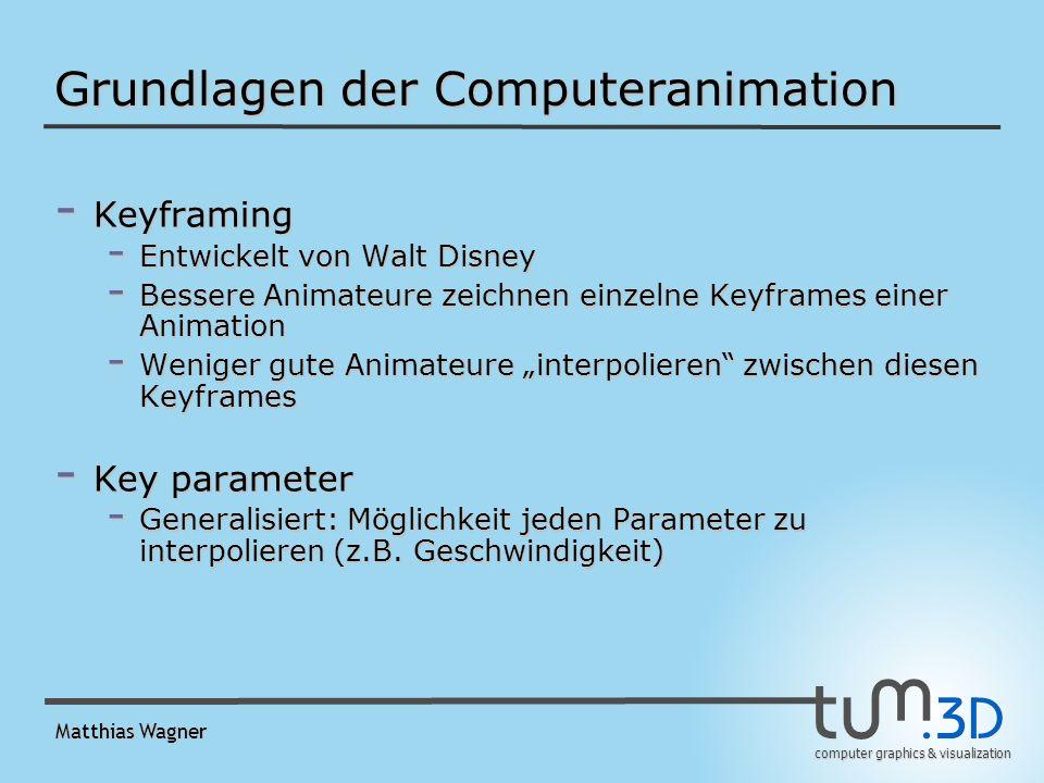 computer graphics & visualization Matthias Wagner Grundlagen der Computeranimation - Keyframing - Entwickelt von Walt Disney - Bessere Animateure zeichnen einzelne Keyframes einer Animation - Weniger gute Animateure interpolieren zwischen diesen Keyframes - Key parameter - Generalisiert: Möglichkeit jeden Parameter zu interpolieren (z.B.