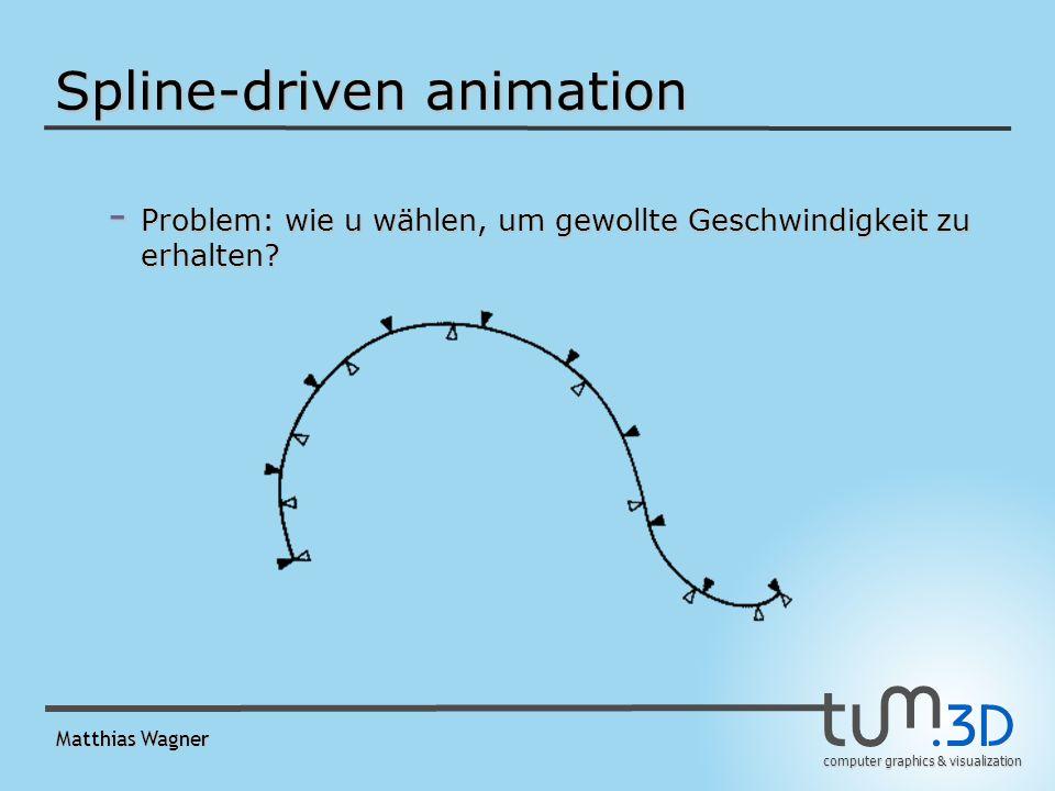 computer graphics & visualization Matthias Wagner Spline-driven animation - Problem: wie u wählen, um gewollte Geschwindigkeit zu erhalten