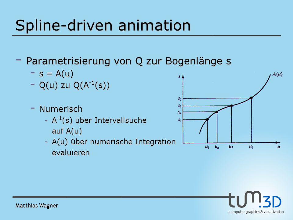 computer graphics & visualization Matthias Wagner Spline-driven animation - Parametrisierung von Q zur Bogenlänge s - s = A(u) - Q(u) zu Q(A -1 (s)) - Numerisch -A -1 (s) über Intervallsuche auf A(u) -A(u) über numerische Integration evaluieren