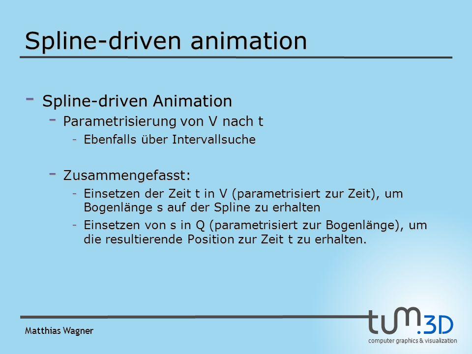computer graphics & visualization Matthias Wagner Spline-driven animation - Spline-driven Animation - Parametrisierung von V nach t -Ebenfalls über Intervallsuche - Zusammengefasst: -Einsetzen der Zeit t in V (parametrisiert zur Zeit), um Bogenlänge s auf der Spline zu erhalten -Einsetzen von s in Q (parametrisiert zur Bogenlänge), um die resultierende Position zur Zeit t zu erhalten.