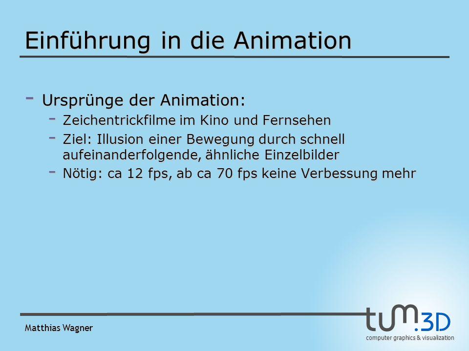 computer graphics & visualization Matthias Wagner Einführung in die Animation - Ursprünge der Animation: - Zeichentrickfilme im Kino und Fernsehen - Ziel: Illusion einer Bewegung durch schnell aufeinanderfolgende, ähnliche Einzelbilder - Nötig: ca 12 fps, ab ca 70 fps keine Verbessung mehr