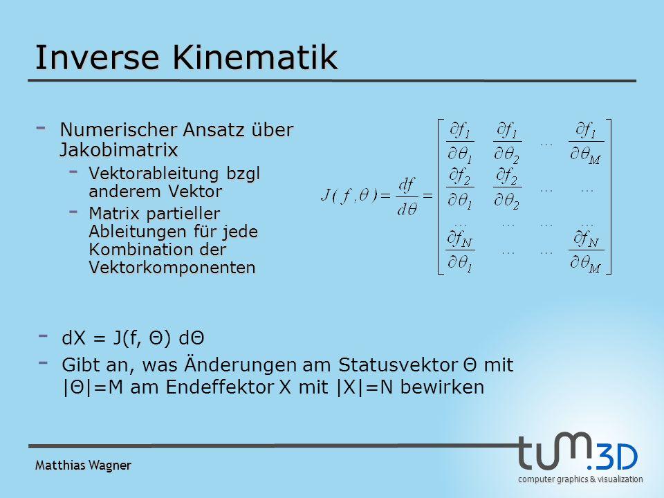 computer graphics & visualization Matthias Wagner Inverse Kinematik - Numerischer Ansatz über Jakobimatrix - Vektorableitung bzgl anderem Vektor - Matrix partieller Ableitungen für jede Kombination der Vektorkomponenten - dX = J(f, Θ) dΘ - Gibt an, was Änderungen am Statusvektor Θ mit |Θ|=M am Endeffektor X mit |X|=N bewirken