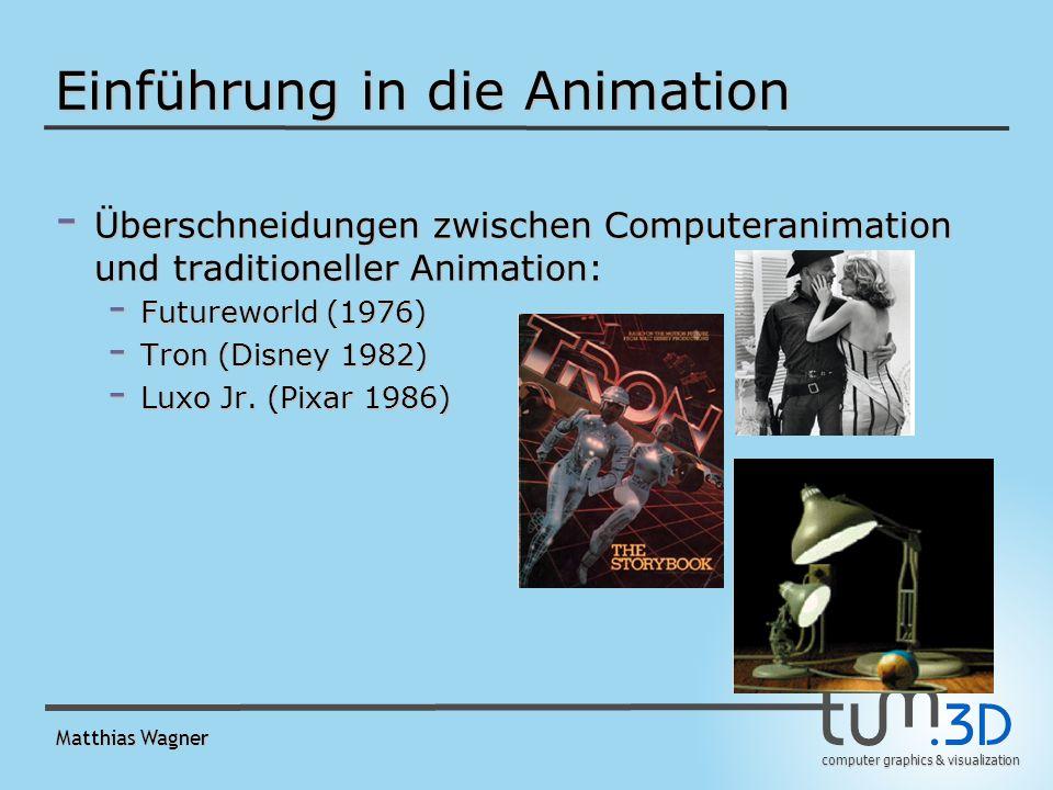 computer graphics & visualization Matthias Wagner Einführung in die Animation - Computeranimation: - Virtualität erlaubt beliebige Ergebnisse - Sehr viele Animationsvariablen (Avars) - Nachteil: Animator schnell überfordert - Deswegen motion control system hilfreich