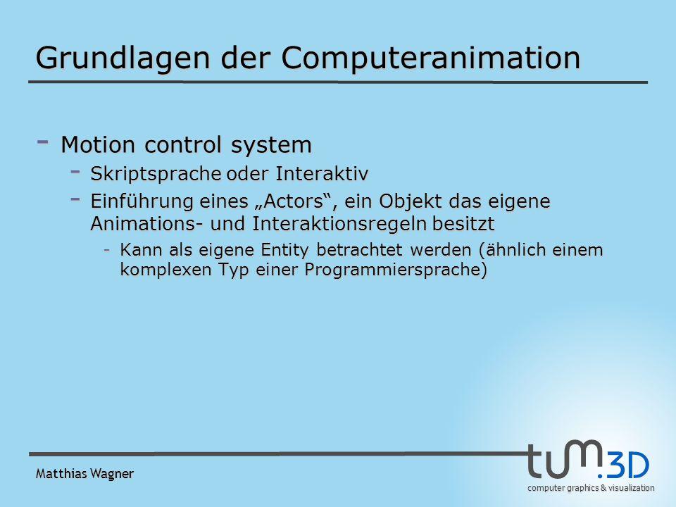 computer graphics & visualization Matthias Wagner Rotation und Orientierung - Euler Rotation - Rolls sind nicht unabhängig (Gimbal Lock Problem) - Reihenfolge der Rolls ist wichtig - Orientierungsänderung nicht eindeutig